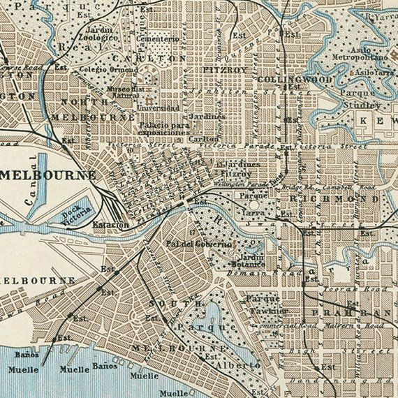 Vintage City Map Melbourne Australia Street Plan 1920s