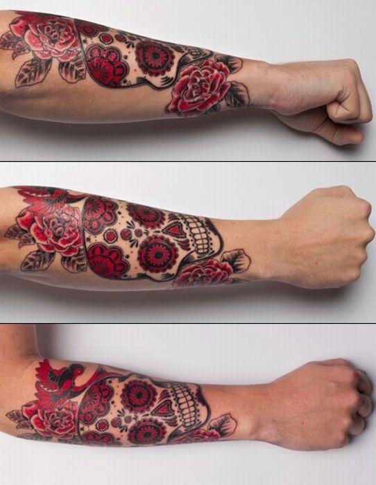 Mexican tattoo: Skulls, Tattoo Ideas, Tattoo Sleeve, Tattoo Inspiration, Tattoo'S, Tattoo Patterns, Tattoo Design, Red Tattoo, Sugar Skull Tattoos