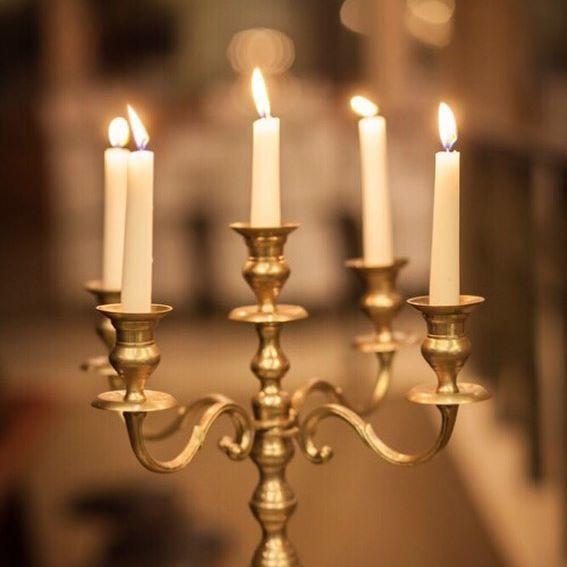 Our beautiful candelabras stand tall and sparkly  #springweddings #weddingdecor #candlelight #decorideas #candelabras #candles #homedecor