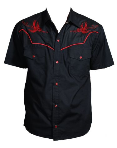 Thunder Birds : Rockabilly Shirt Men's Rockabilly Western Shirt  -- Black & Red -- Sparrows are Embroidered on the Front Black Yokes -- 20% Cotton, 80% Polyester -- Button Down ; Buttons look like Snaps -- One Button Front Pockets -- Machine Washable ; Made in USA