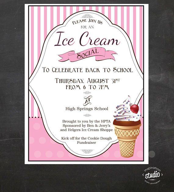Ice Cream Social Event Flyer Back To School Ice Cream Social Etsy Ice Cream Social School Fundraisers Pta Fundraising