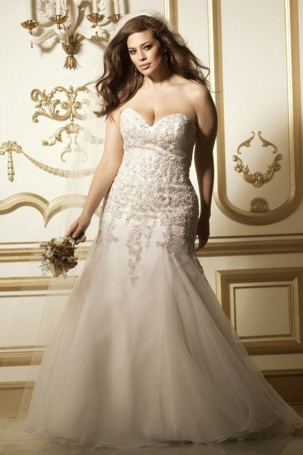 Plus Size Wedding Dress Spotlight:  Vega Gown From Watters - Wtoo Curve Collection.  Gown has a fit and flared textured organza skirt, strapless, sweetheart neckline, beaded lace motifs on bodice, and chapel length train.  Available in white and ivory in sizes up to 32W.  Style #11316.