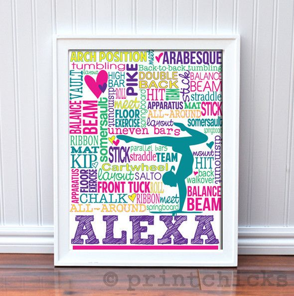 Gymnastics Print - Custom Typography Prints - Personalized Gymnastics Gift – PrintChicks.  Makes a great TEAM gift!  Customize them all for no extra charge  www.printchicks.net