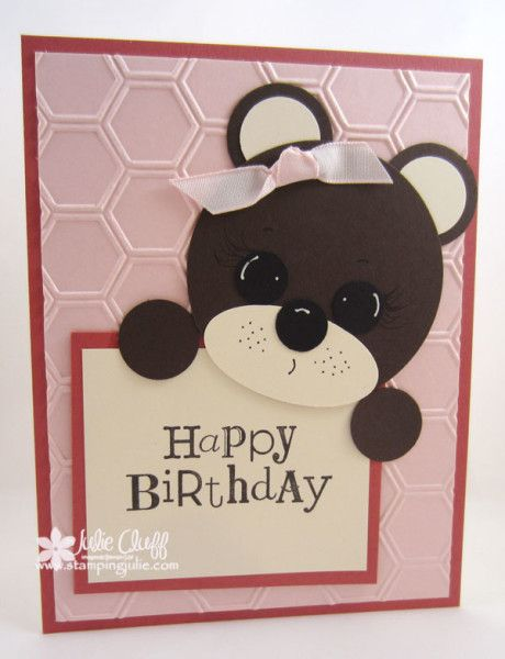 handmade punch art birthday bear card