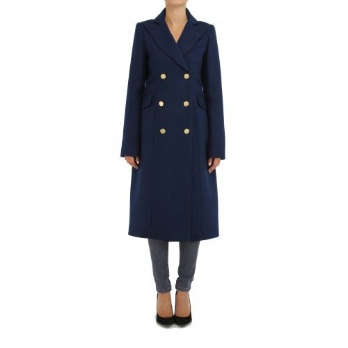 Smythe Reefer Coat. This long structured pea coat has classic styling with a tailored, feminine fit. Details include peaked lapels, epaulets, flap pockets sit at the hips, and gold-tone antique-inspired buttons detail the double-breasted placket.