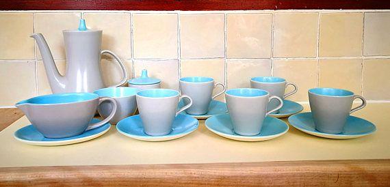 Poole pottery twin tone Tea Set, Tea service. Poole pottery twintone two tone Dove Grey and Sky Blue, Colour combi C104. Mid century Modern