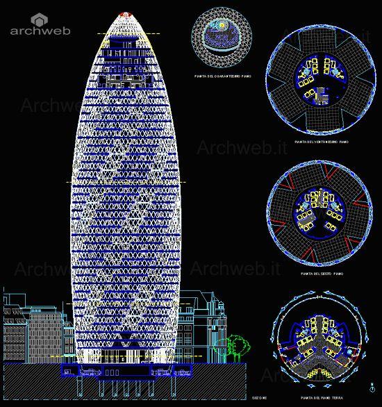 드로윙 30 St Mary Axe - Swiss Re Tower drawings