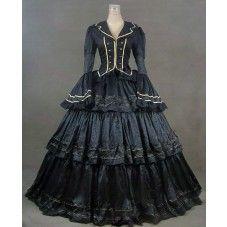Robe gothique longue en coton polyester noir d'or col V boutonne manches longues