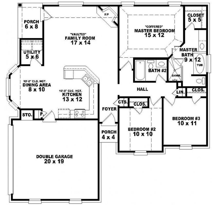 Delighful House Floor Plans 3 Bedroom 2 Bath Story 653788 Onestory ...