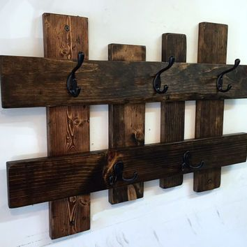 """Best Images Rustic coat rack ideas. Mason Rustic Modern 5 Hanger Hook Coat Hat Rack with by KeoDecor on etsy - hand in ... 18 Diy Rustic Coat Rack Ideas - Journal of a Craft Lover ..... Rustic coat rack, wall hanger with 6 railroad spike hooks, 30"""" x 8"""" barnwood towel rack. #Rustic coat rack ideas"""