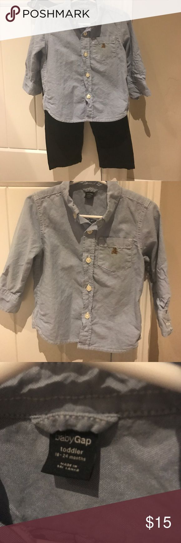 Gap button down shirt and pants Gap blue button down shirt.  Never worn.  No tags attached.  Size 18-24 months.  Also navy pants in size 18-24 months.  Pants have been worn.  Great condition.  Pants have adjustable waist band. GAP Matching Sets