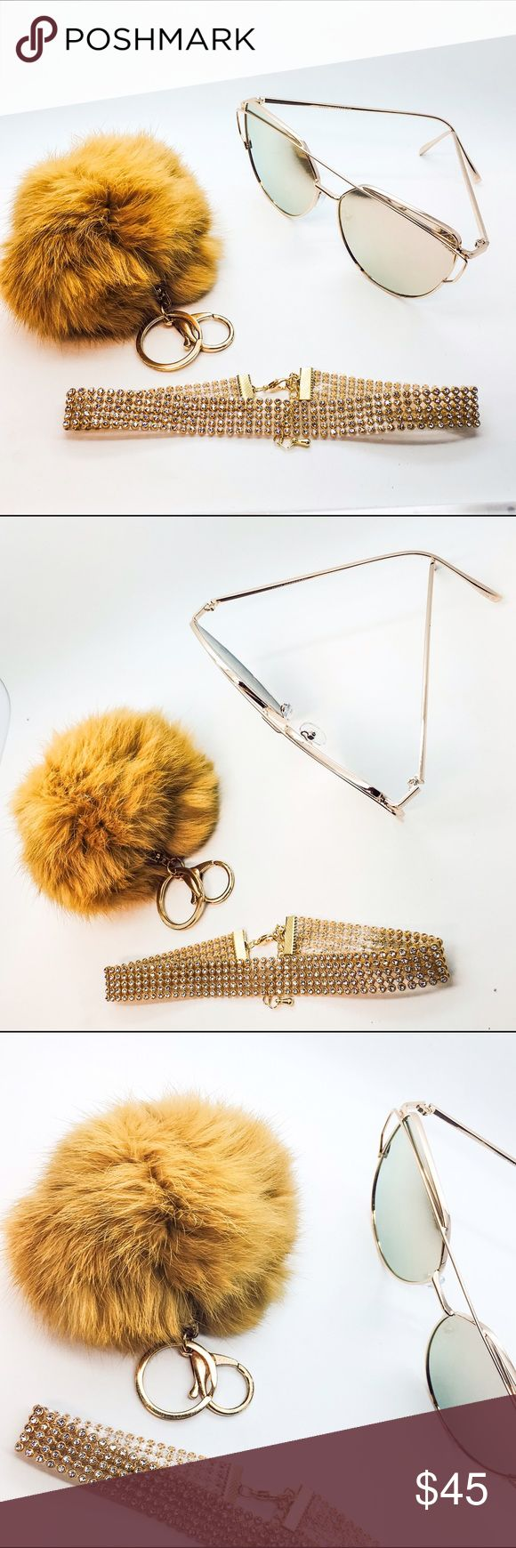 "I "" Dior "" You Bundle - Tan Fur Fluffy Plush Pom Pom Ball Keychain                                         - Rose Gold / Pink Miami Cat Eye Aviator Mirrored Celebrity Sunglasses                                                                - Nightglam Jeweled Studded Choker Collar Necklace                                                                   TRENDING NOW!!  LA Trends! glLAam Accessories"