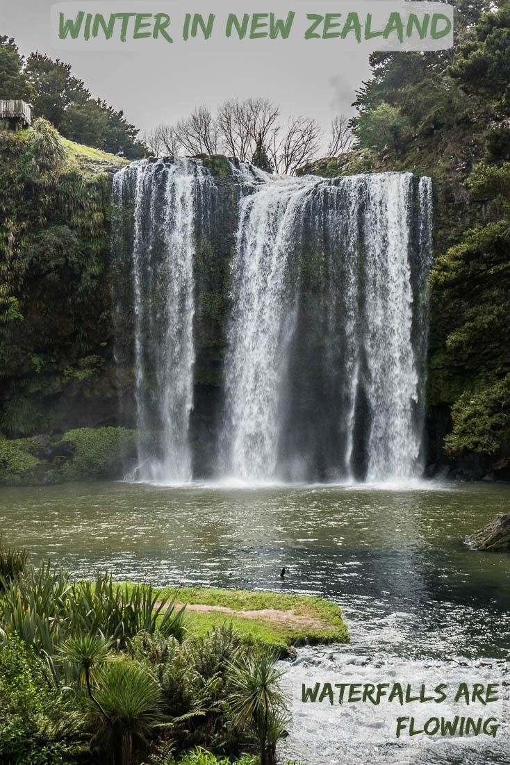This is one of many incredible New Zealand North Island Waterfalls flowing during the winter.