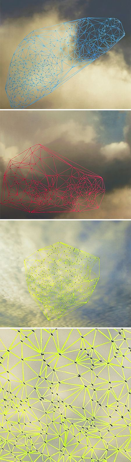 DIGITAL & PAINT - Catherine Ulitsky - takes photos of groups of birds in flight, then joins them to create geometric shapes.