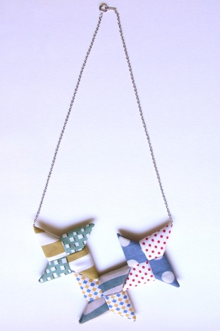 origami pinwheel necklace