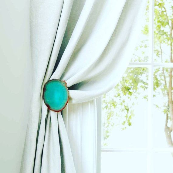 "Gorgeous Agate Curtain Holdback ~Available in assorted colors ~This listing is for one holdback ~Extends 4"" from the wall ~Satin Nickel Finish ~Message me for custom orders or finish                                                                                                                                                                                 More"