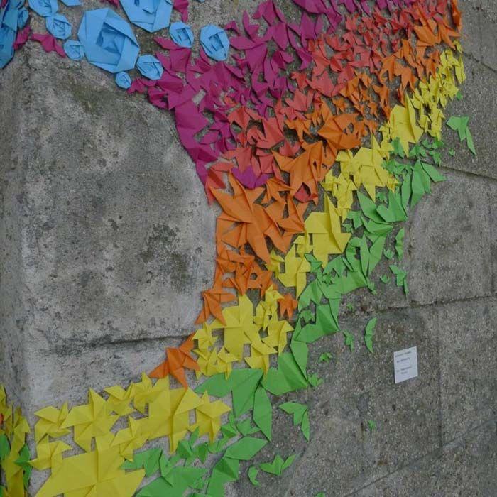 Mademoiselle Maurice: Paris, Street Artists, Origami Paper, Rainbows Colors, Origami Street, Rainbows Origami, Mademoisel Mauric, Mademoiselle Mauric, Streetart