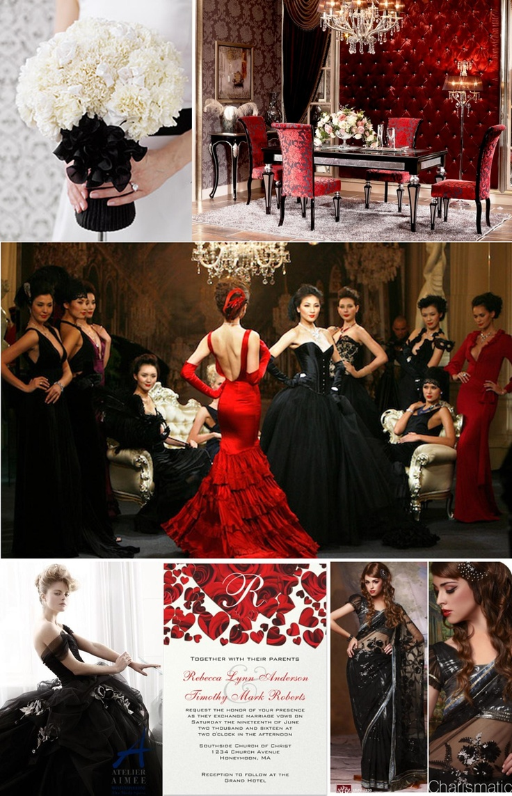 Red, white and black wedding