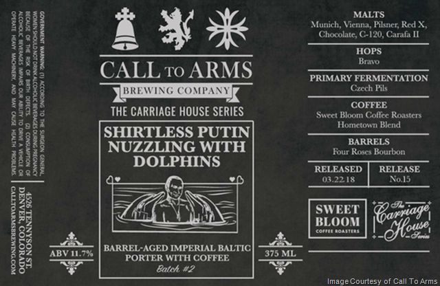 Call to Arms Brewing Releasing Shirtless Putin Nuzzling with Dolphins 3/22