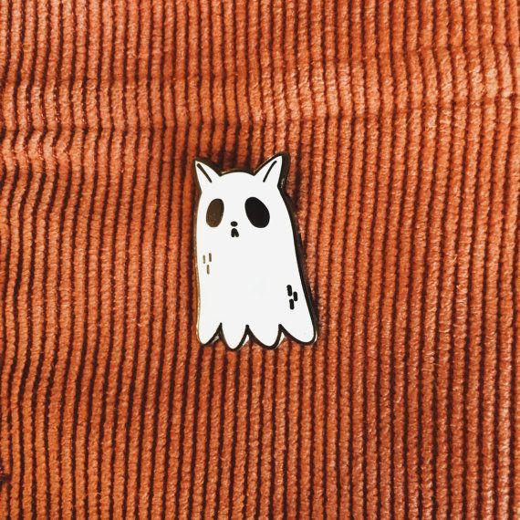 Ghost Cat enamel pin by taryndraws on Etsy