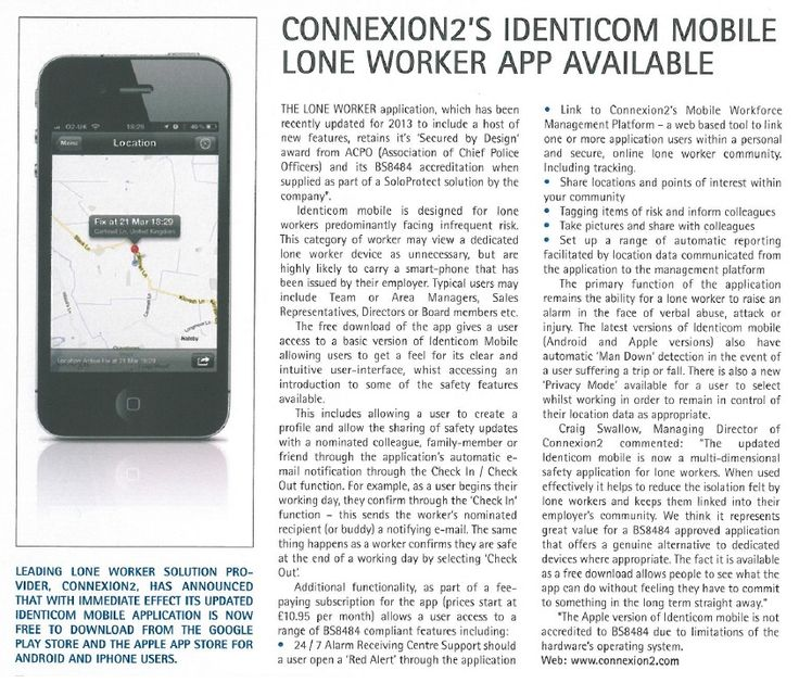 Connexion2's Identicom Mobile Lone Worker App Available