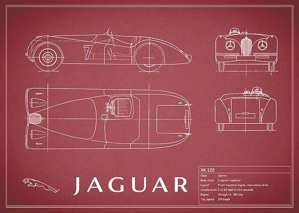 Jaguar Xk 120 Blueprint - Red Print By Mark Rogan
