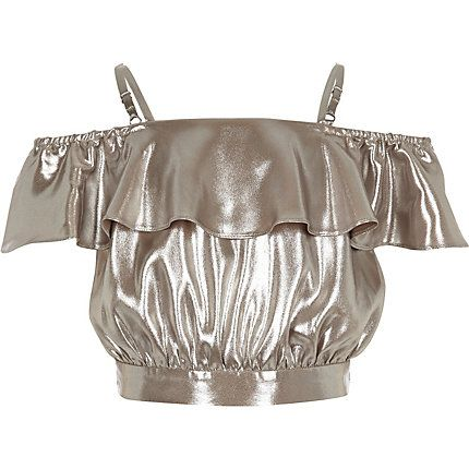 Girls silver metallic bardot ruffle crop top $28.00