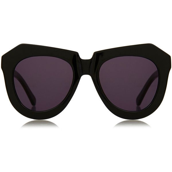 Karen Walker One Worship Black Angular Oversized Sunglasses ($115) ❤ liked on Polyvore featuring accessories, eyewear, sunglasses, black, karen walker glasses, acetate sunglasses, dark tinted sunglasses, black eyewear and over sized sunglasses