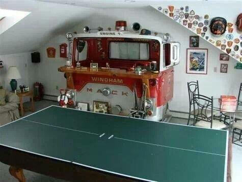 Perfect man cave bar idea :)
