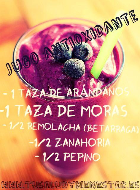 Te dejo un zumo antioxidante. En mi blog puedes encontrar otras recetas de jugos adelgazantes, jugos verdes, zumos depurativos, jugos detox, ...etc.