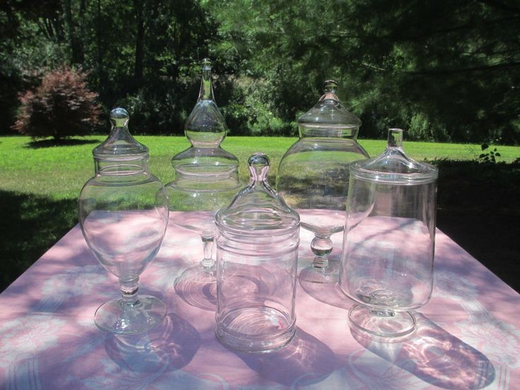 Lot of 5 Vintage Blown Glass Apothecary Jars Wedding Buffet Candy Display B   eBay