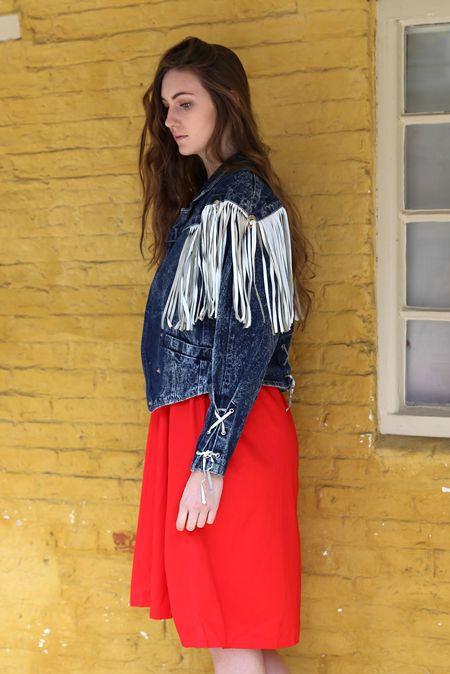 Lana del rey fashion, acid wash denim, cowgirl, cowboy jacket, white leather fringe, tassel jacket
