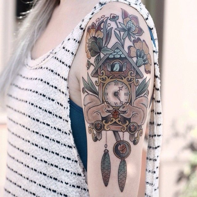 Cuckoo clock for Michelle! So nice to tattoo you and hang out  you're a trooper to get this in one shot! #tattoo #ladytattooer