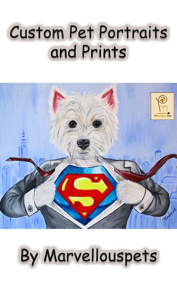 Personalised Superhero Painting Superman Costume Funny Pet Portrait Custom Oil Painting Custom Dog Canvas Dog Art Pets Oil Painting In 2020 Superhero Painting Custom Pet Portraits Pet Portraits