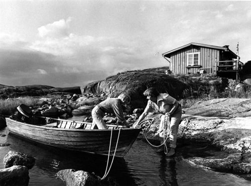 """child0fthenight: """"Tove Jansson and partner on one of their many holidays to the the secluded island of Klovharu """""""