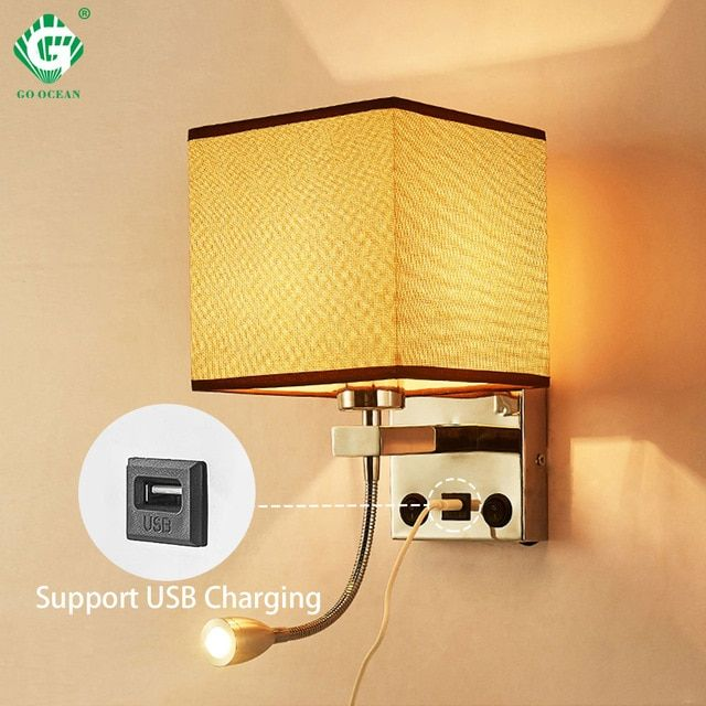Modern Indoor Led Wall Lamp Bedside Bedroom Applique Sconce With Switch Usb E27 Bulb Interior Headboard Home Hote Modern Wall Lamp Black Wall Lamps Wall Lights
