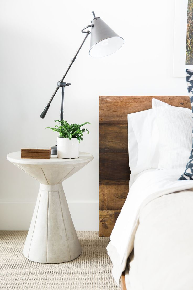 Bedroom with lamp white wall mirror ramos solid wood dining table - Modern Mountain Home Tour Guest Wing