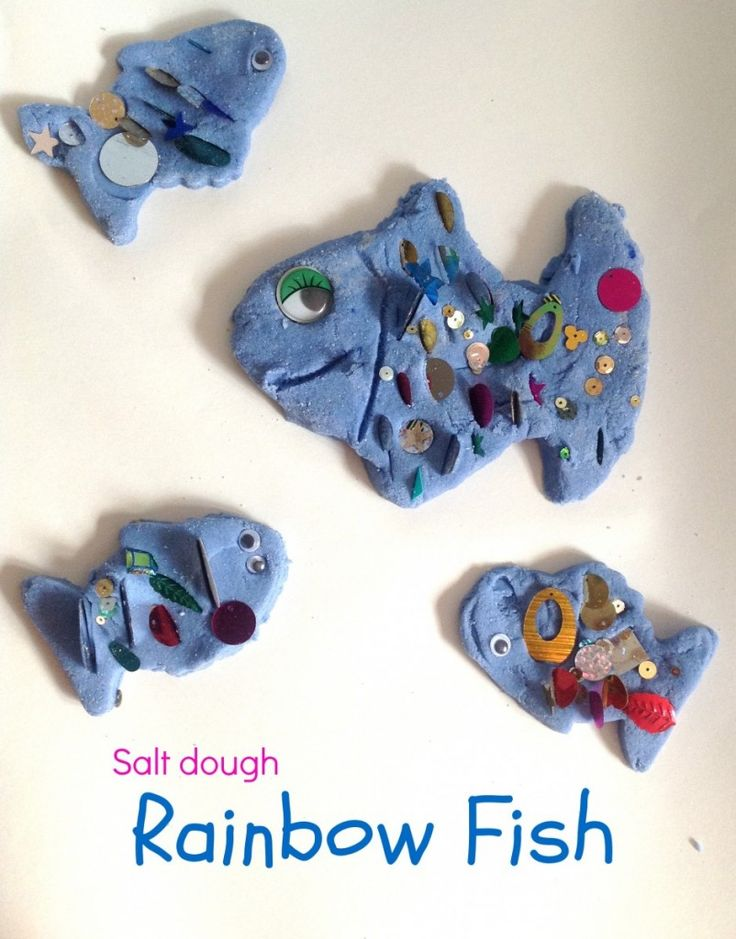Salt dough Rainbow Fish from the book 'Rainbow Fish to the rescue!'. Great story telling prop for toddlers and preschoolers.