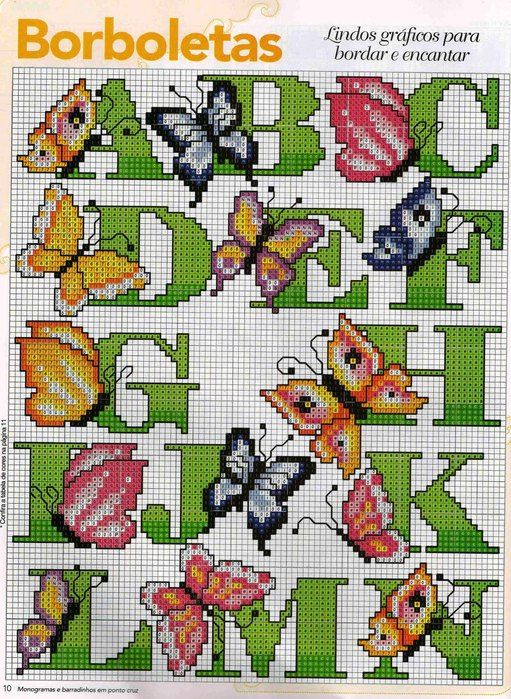Cross-stitch Butterfly Alphabet, part 1..  color chart on part 2