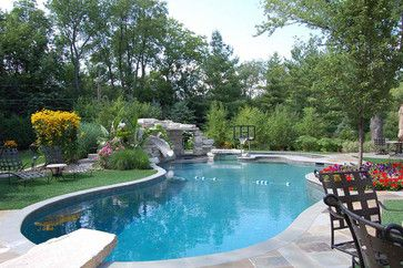 Beautiful pool with Swim N' Dunk Basketball on the end.