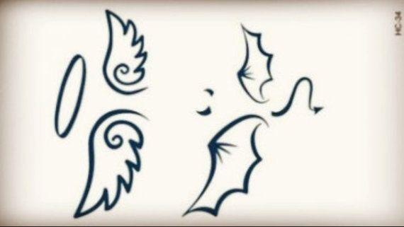 Demon and angel tattoos temporary tatouage d 39 ange - Dessin ange demon ...