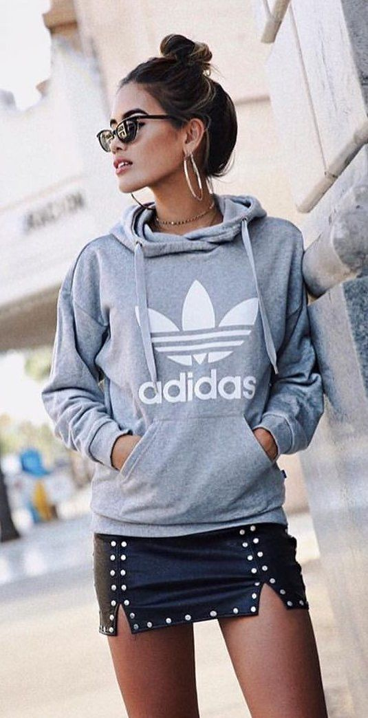 #fall #outfits  women's gray Adidas pullover jacket