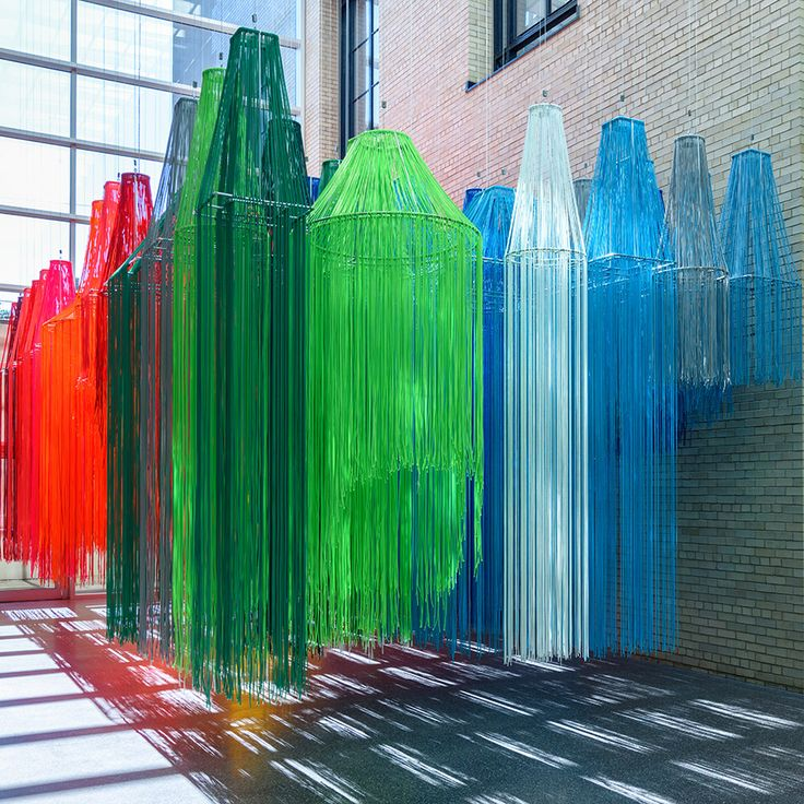 For his first solo exhibition in the US, architect Diébédo Francis Kéré has created a rainbow-coloured installation made of thin strands of rope