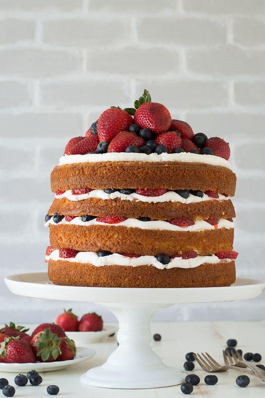 Vanilla and Fresh Berry Naked Cake - 4 layer vanilla cake filled with fresh berries!