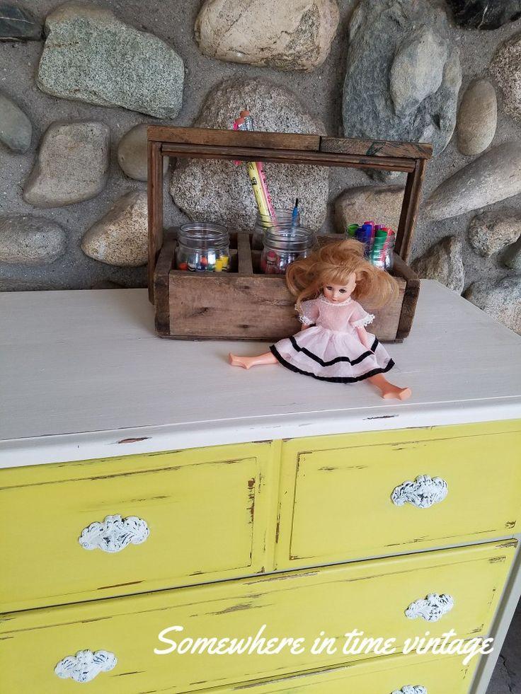 Charming vintage Frye Furniture Industries dresser.   #charming #vintage #dresser #cottage #yellow #rescue #farmhouse #creamywhite #love #nursery #kidsroom #taupe #relove  #ohfortheloveofjunk  #somewhereintinevintage