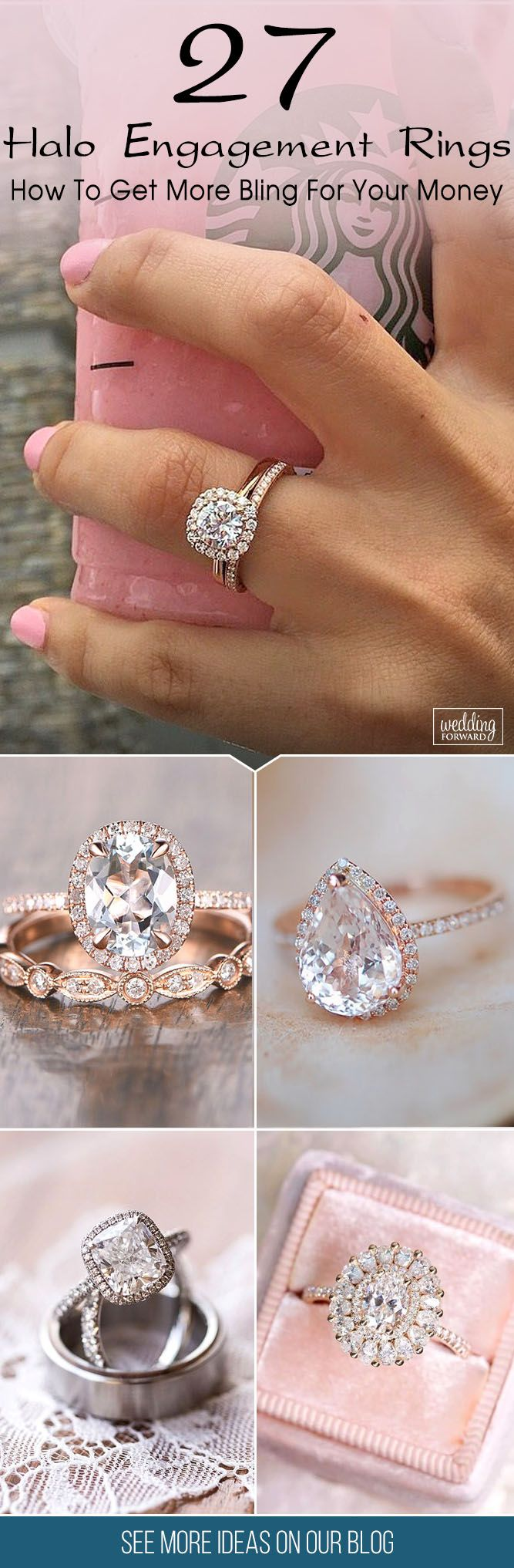 27 Halo Engagement Rings Or How To Get More Bling For Your Money ❤ Halo engagement rings are popular among of bridal jewelry and have gorgeous look on her hand. See more: http://www.weddingforward.com/halo-engagement-rings/ #wedding #engagement #rings