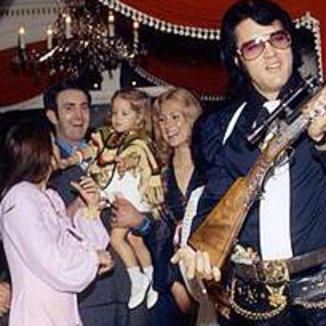 Celebrating Sonny and Judy West's wedding at Graceland, 28 December 1970.