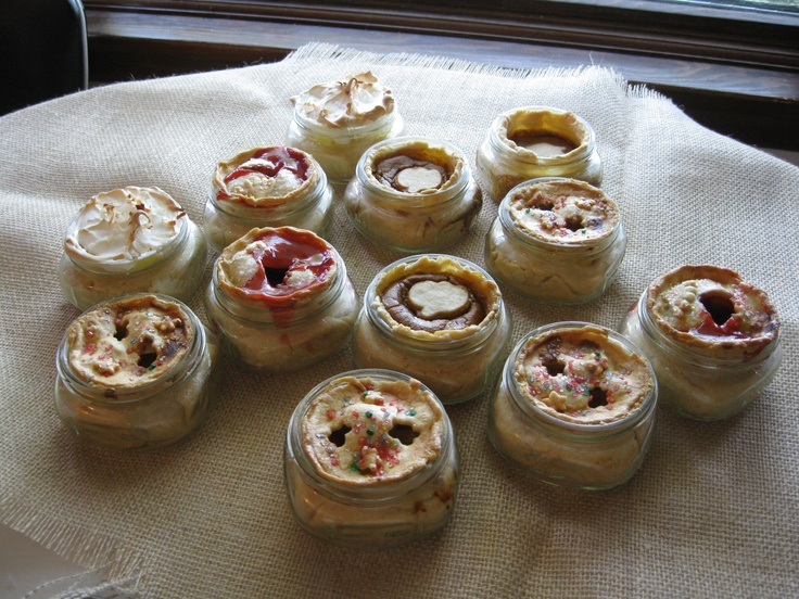 Apple, pumpkin, cherry and coconut cream pies in a jar. They were a ...