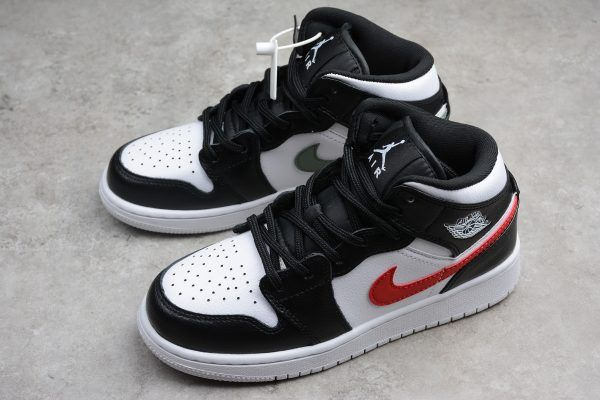 Girls Air Jordan 1 Mid Multi Swoosh Black White University Red