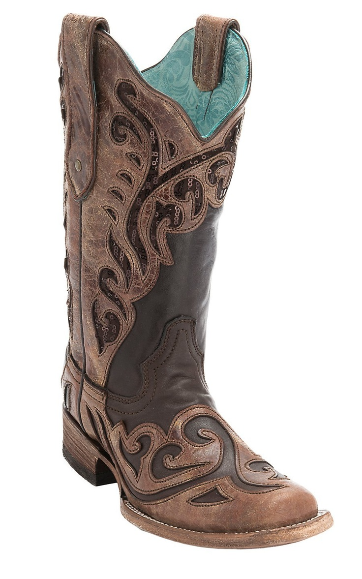 Corral Ladies Chocolate w/ Distressed Brown Wave Overlay Sequin Inlay Square Toe Double Welt Western Boots